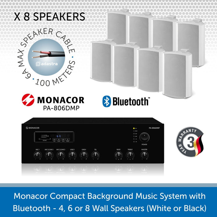 Monacor Background Music System with 8 Wall Mount Speakers in Black or White