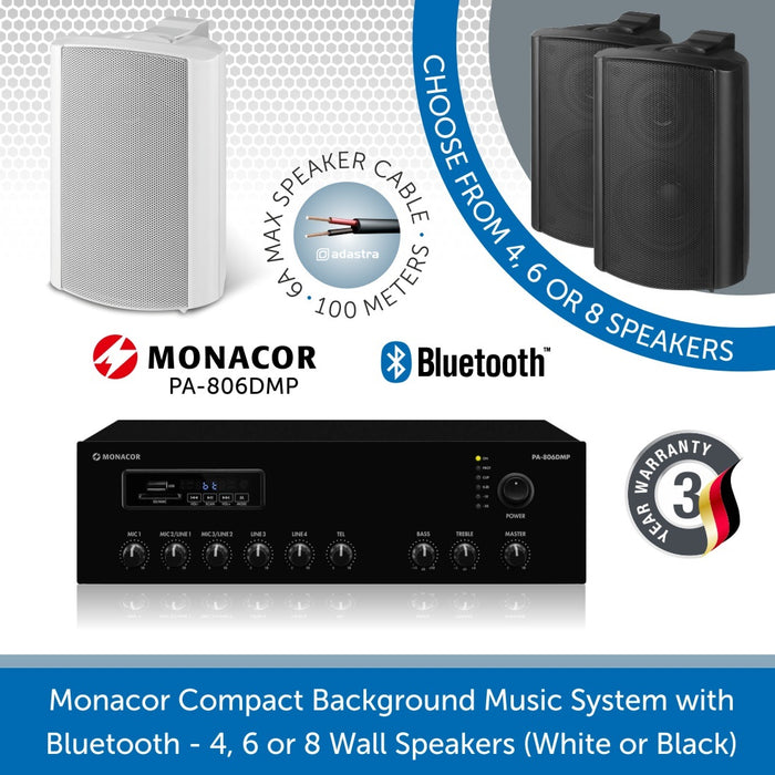 Monacor Background Music System with 4, 6 or 8 Wall Speakers in Black or White