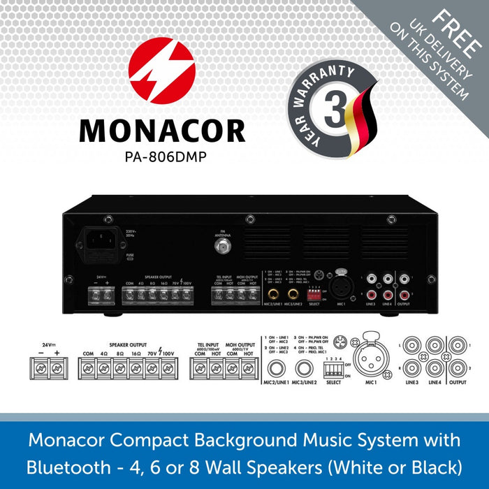 Monacor Background Music System with Bluetooth & FM Radio - 4, 6 or 8 Wall Speakers