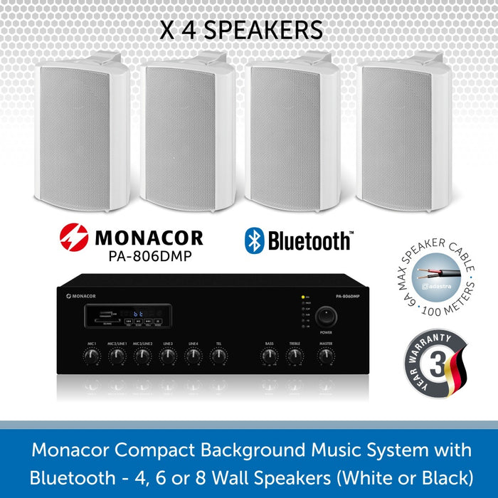Monacor Background Music System with 4 Wall Mount Speakers in Black or White