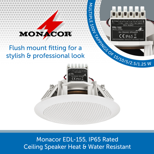 Monacor EDL-155, IP65 Rated Ceiling Speaker Heat & Water Resistant