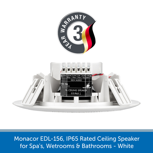 Monacor EDL-156 speaker runs on 100v line and has tappings of 15/10/5/2.5/1.25 W