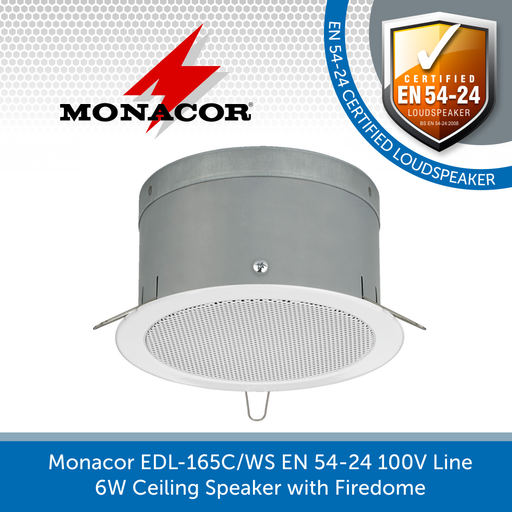 Monacor EDL-165C/WS EN 54-24 100V Line 6W Ceiling Speaker with Firedome