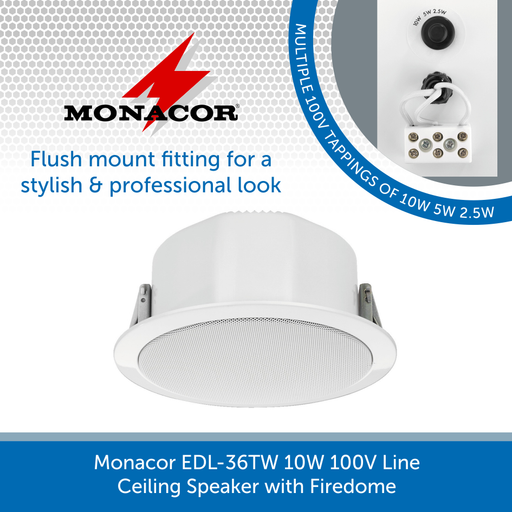 Monacor EDL-36TW 10W 100V Line Ceiling Speaker with Firedome