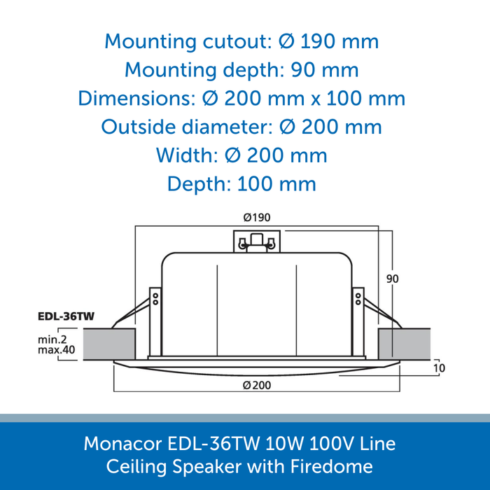 Sizes for a Monacor EDL-36TW 10W 100V Line Ceiling Speaker with Firedome