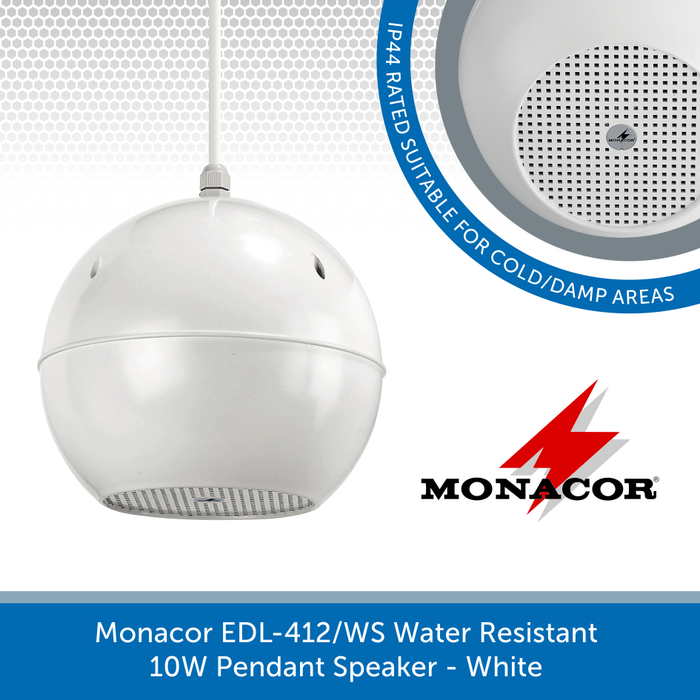 Monacor EDL-412/WS Water Resistant IP44 Rated, 10W Pendant Speaker