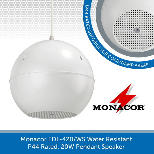 Monacor EDL-420/WS Water Resistant 20W Pendant Speaker - White