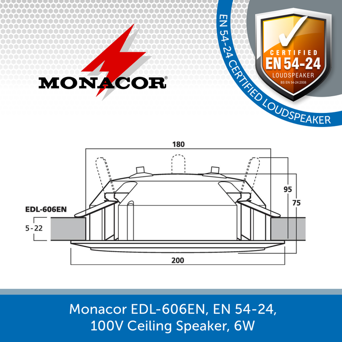 The sizes for a Monacor EDL-606EN, EN 54-24, 100V Ceiling Speaker, 6W