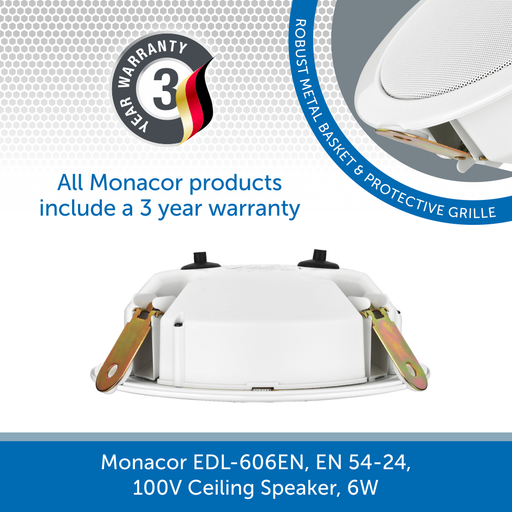 Show the back of a Monacor EDL-606EN, EN 54-24, 100V Ceiling Speaker, 6W