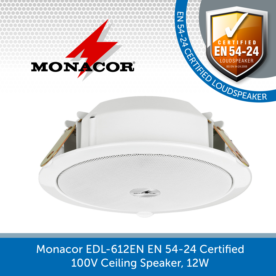 Monacor EDL-612EN EN 54-24 Certified 100V Ceiling Speaker, 12W