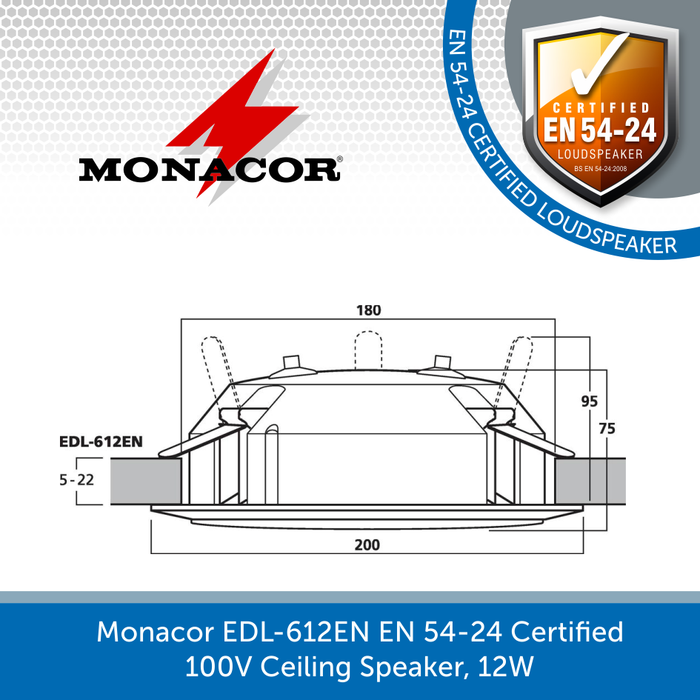Showing the size of a Monacor EDL-612EN EN 54-24 Certified 100V Ceiling Speaker, 12W