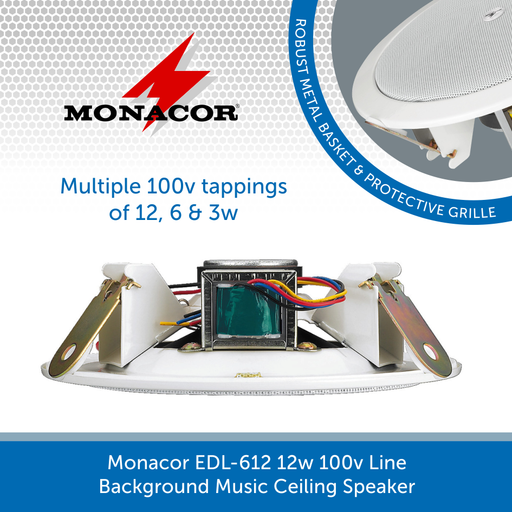Monacor EDL-612 ceiling speaker with multiple 100v line tappings