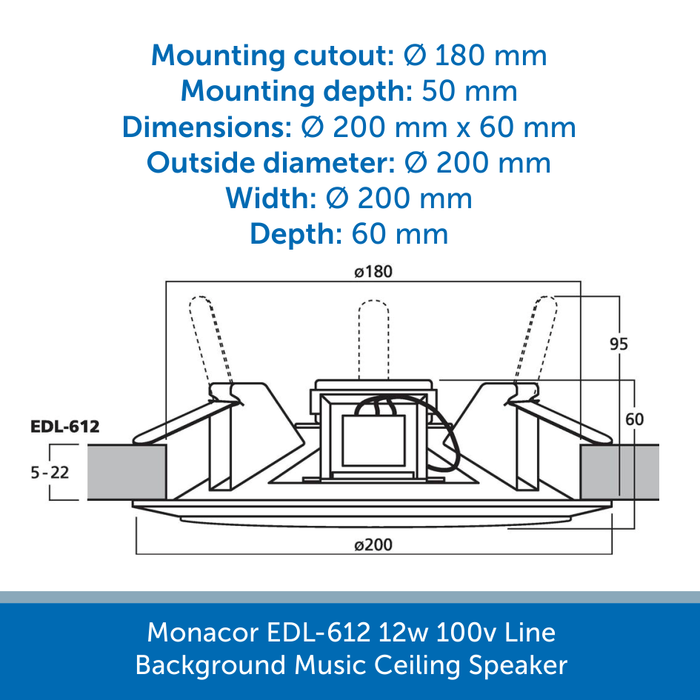 Showing the size of a Monacor EDL-612 Speaker