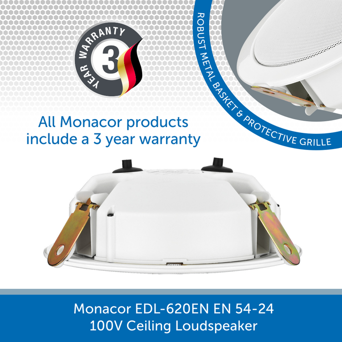 The back of a Monacor EDL-620EN EN 54-24 100V Ceiling Loudspeaker