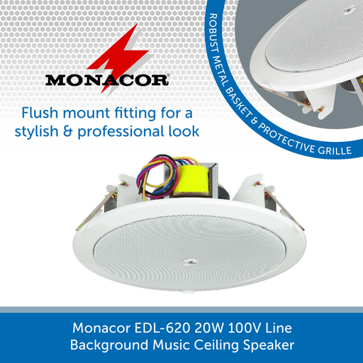 Monacor EDL-620 20W 100V Line Background Music Ceiling Speaker