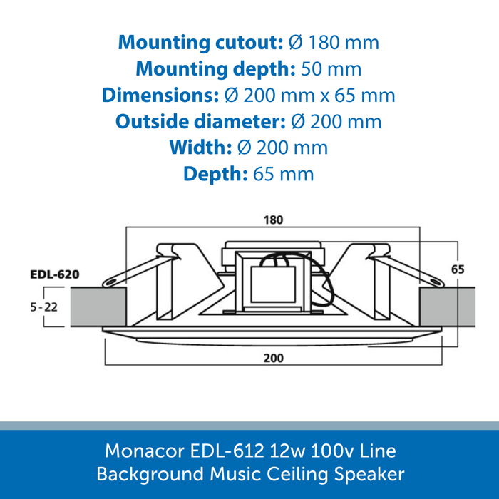 Showing the size of a Monacor EDL-620