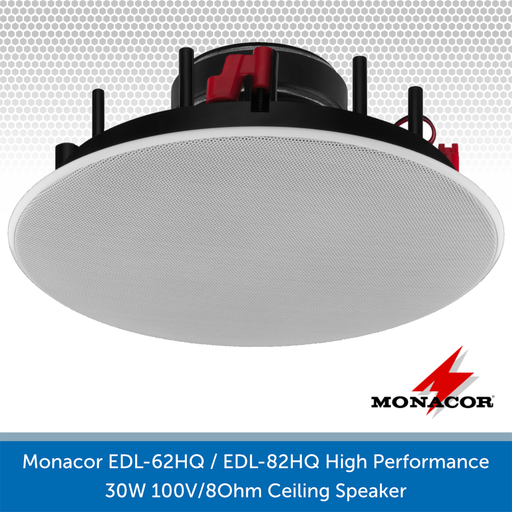 Monacor EDL-62HQ / EDL-82HQ High Performance 30W 100V/8Ohm Ceiling Speaker