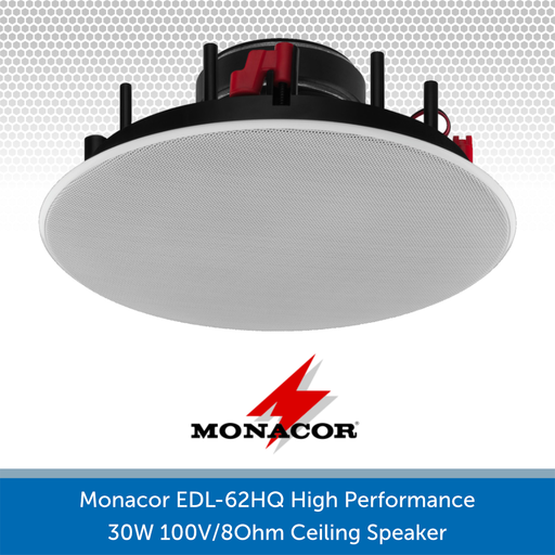 Monacor EDL-62HQ High Performance 30W 100V/8Ohm Ceiling Speaker