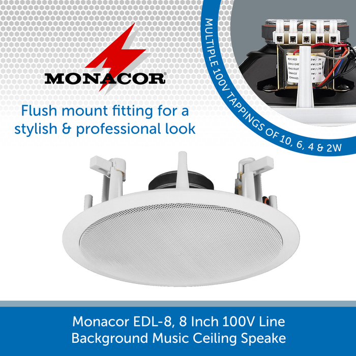 Monacor EDL 8, 8 Inch 100V Line Background Music Ceiling Speaker