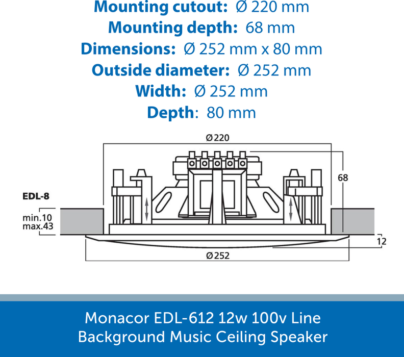 Showing the size of a Monacor EDL-8
