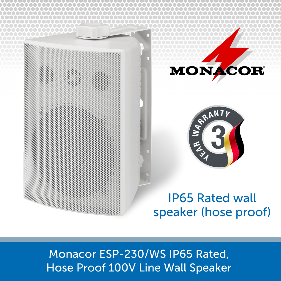 Monacor ESP-230/WS IP65 Rated, Hose Proof 100V Line Wall Speaker