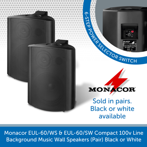 Monacor EUL-60/WS & EUL-60/SW Compact 100v Line Background Music Wall Speakers