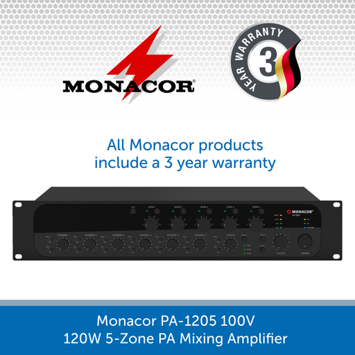 Monacor PA-1205 100V 120W 5-Zone PA Mixing Amplifier