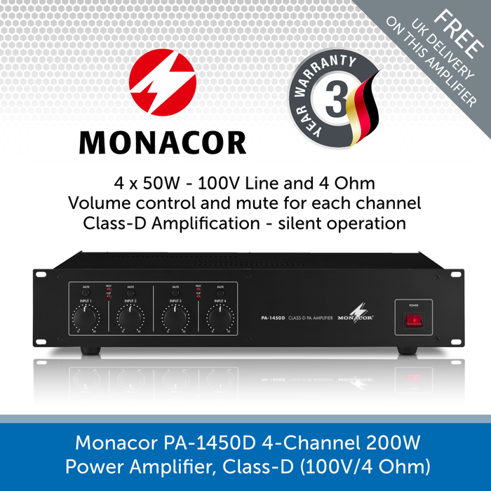 Monacor PA-1450D Class-D PA Amplifier with 4-Channels, 100V Line and 4 Ohms