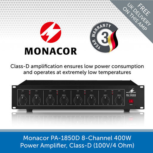Monacor PA-1850D 8-Channel 400W Power Amplifier with Class-D Amplification