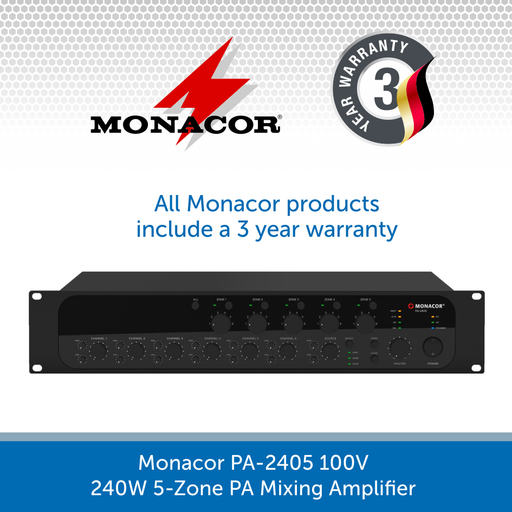 Monacor PA-2405 100V 240W 5-Zone PA Mixing Amplifier
