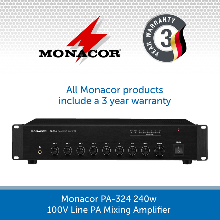 Monacor PA-324 240w 100V Line PA Mixing Amplifier