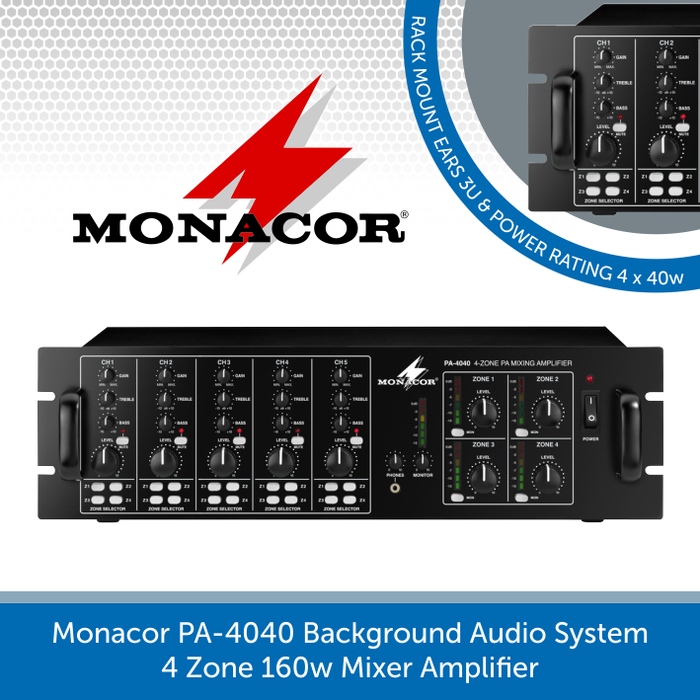 Monacor PA-4040 4 Zone 160w Mixer Amplifier for background music systems