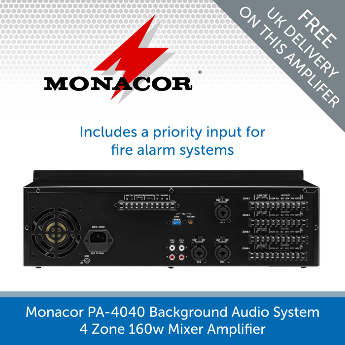 Showing the back of a Monacor PA-4040 4 Zone 160w Mixer Amplifier