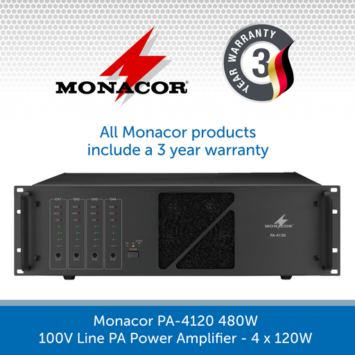 Monacor PA-4120 480W 100V Line PA Power Amplifier
