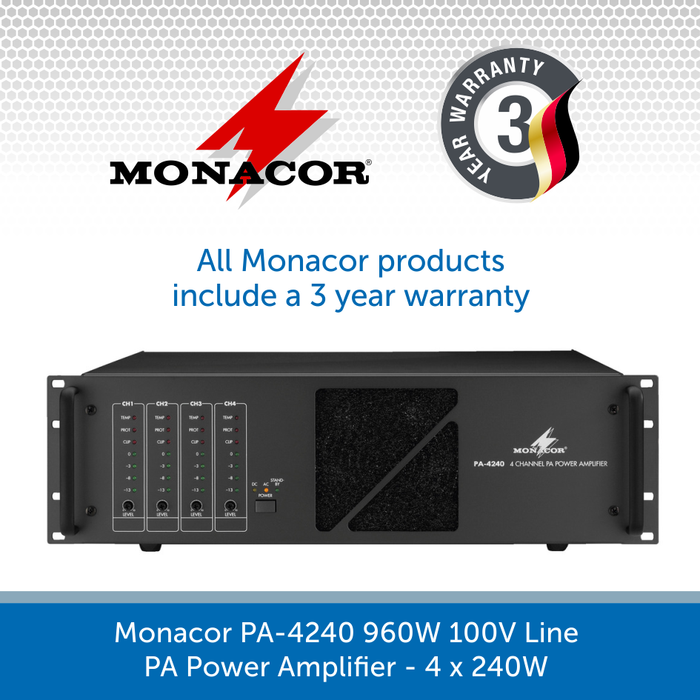 Monacor PA-4240 960W 100V Line PA Power Amplifier