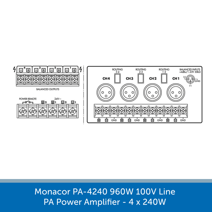 Showing the connections for a Monacor PA-4240