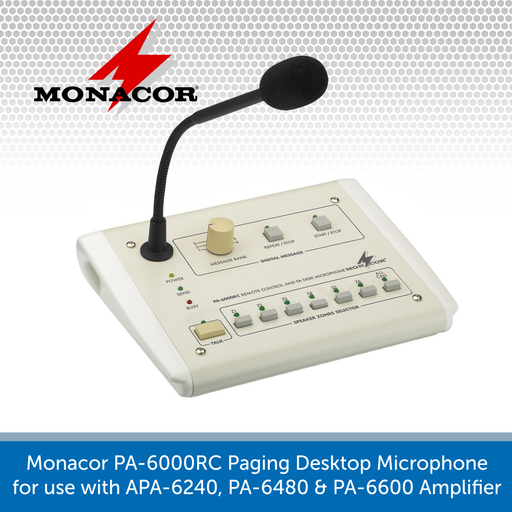 Monacor PA-6000RC Paging Desktop Microphone for use with a PA-6600
