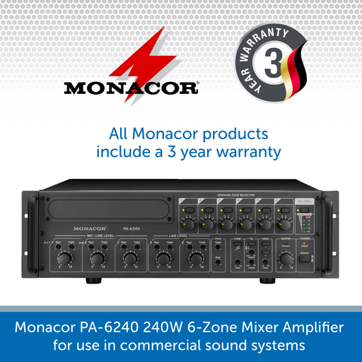 Monacor PA-6240 240W 6 Zone 100V Line Mixer Amplifier