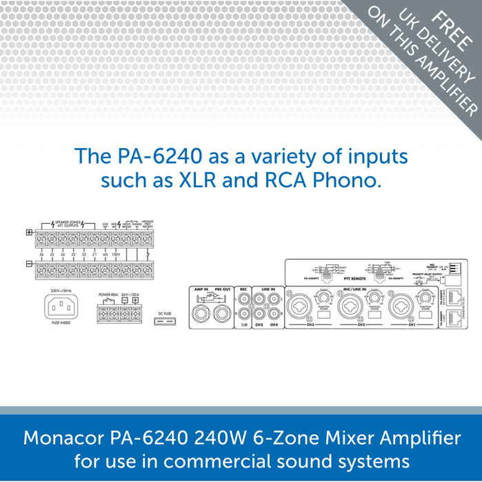 The connection for a Monacor PA-6240