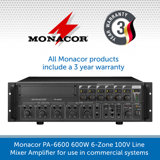 Monacor PA-6600 600W 6-Zone 100V Line Mixer Amplifier for use in commercial sound systems