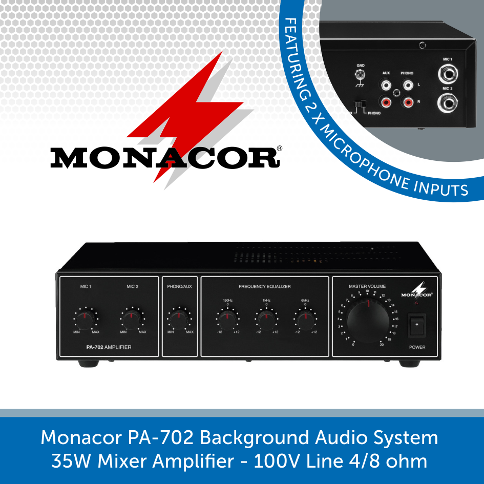 Monacor PA-702 Background Audio System 35W Mixer Amplifier - 100V Line 4/8 ohm