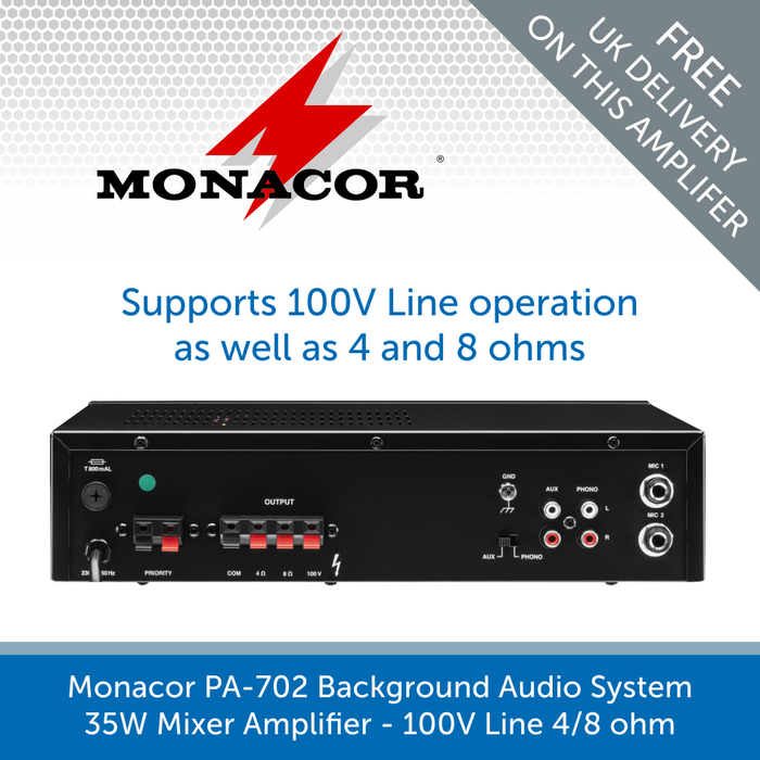 Show the back of a Monacor PA-702 Background Audio System 35W Mixer Amplifier