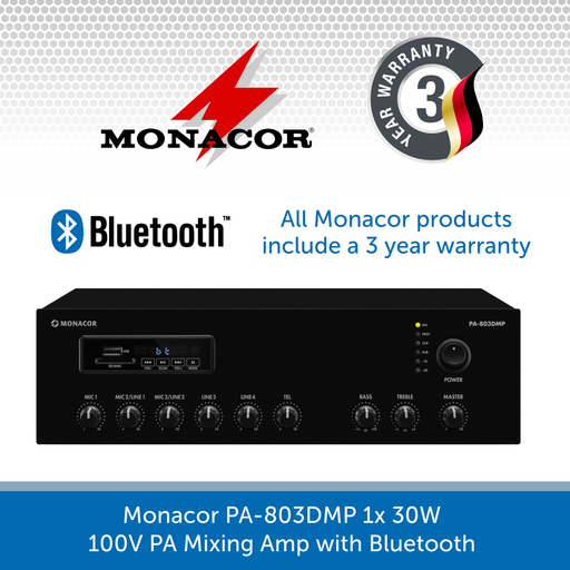 Monacor PA-803DMP 1x 30W 100V PA Mixing Amp with Bluetooth
