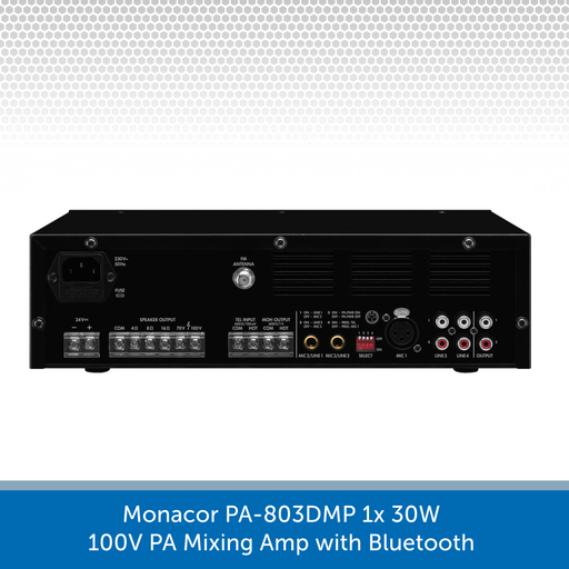 Showing the back of a Monacor PA-803DMP 1x 30W 100V PA Mixing Amp with Bluetooth