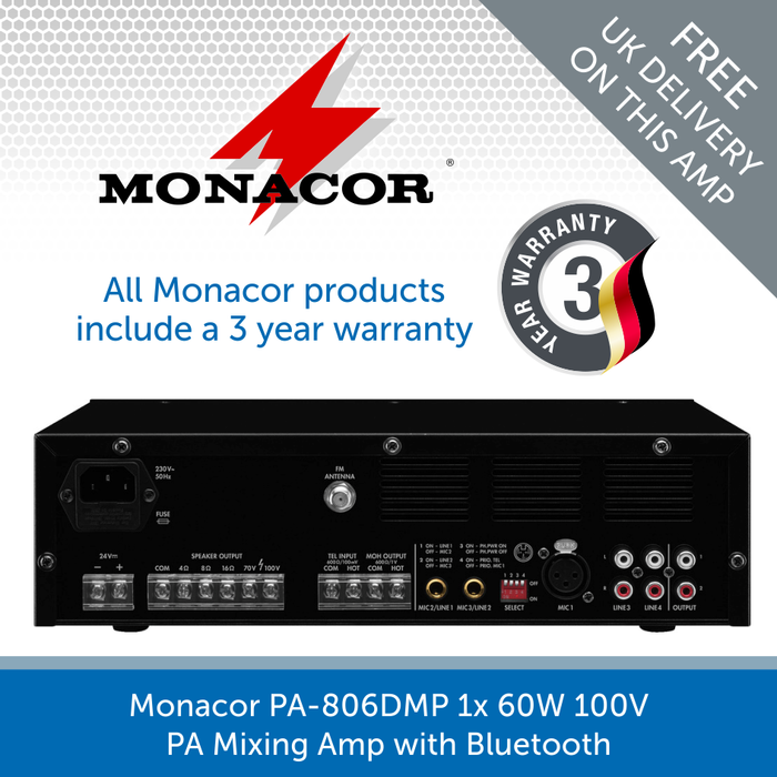 Showing the back of a Monacor PA-806DMP 1x 60W 100V PA Mixing Amp with Bluetooth