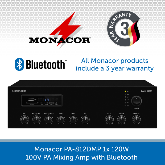 Monacor PA-812DMP 1x 120W 100V PA Mixing Amp with Bluetooth