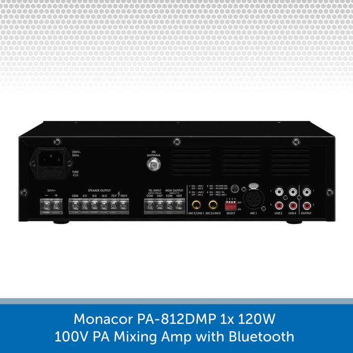 Showing the back of a Monacor PA-812DMP 1x 120W 100V PA Mixing Amp with Bluetooth