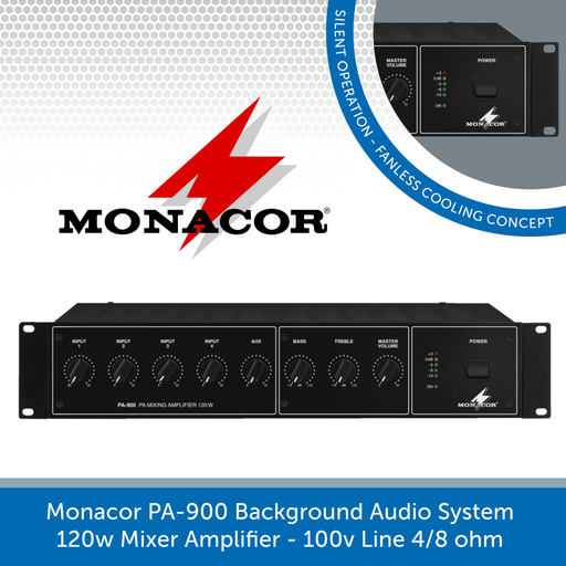 Monacor PA-900 Background Audio System 120w Mixer Amplifier