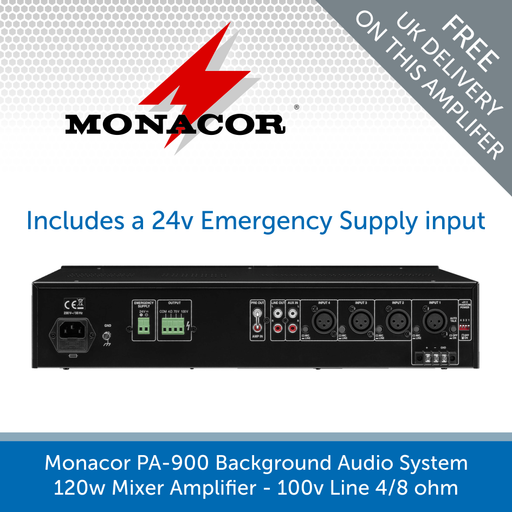 Show the back of a Monacor PA-900 Background Audio System 120w Mixer Amplifier