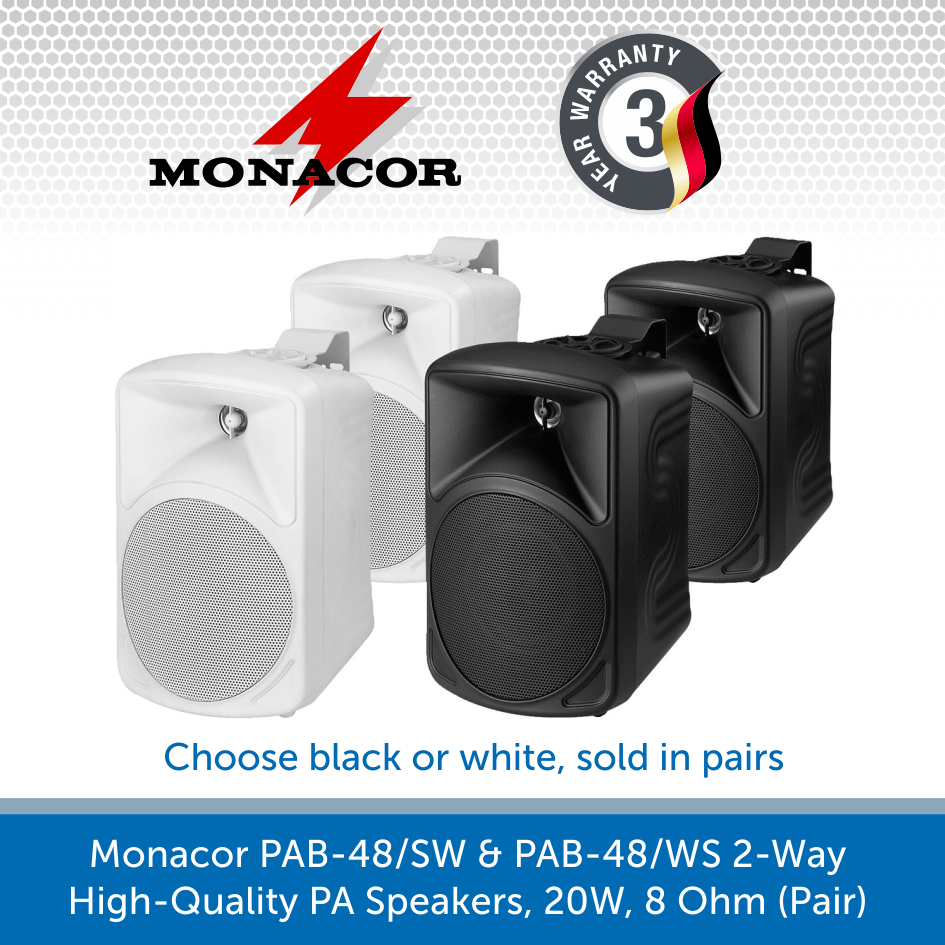 Monacor PAB-48/SW & PAB-48/WS 2-Way High-Quality PA Speakers, 20W, 8 Ohm (Pair)